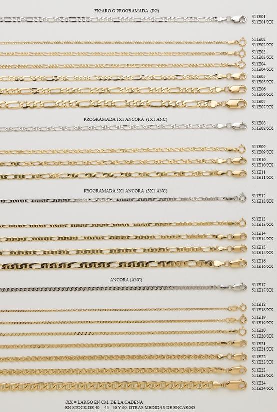 cadenas cordones oro plata