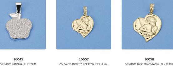 colgantes enamorados oro plata